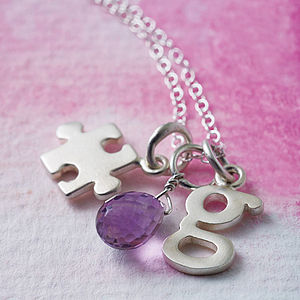 Silver Jigsaw Necklace - gifts for her