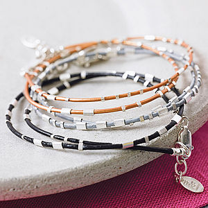 Personalised Ladies Morse Code Leather Wrap Bracelet - stacking bracelets