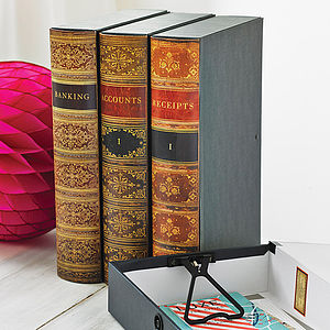 Vintage Book Style Lever Arch Or Box File - storage & organisers