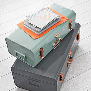 Metal Storage Trunk With Copper Detail - bedroom