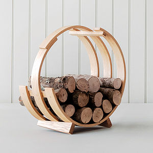 Tom Raffield Log Loop Wood Basket - fireplace accessories