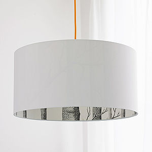 Crisp White The Woods Silhouette Lampshade - lampshades