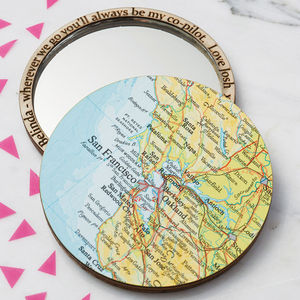 Personalised Map Location Compact Pocket Mirror - our travels
