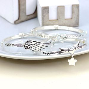 Meaningful Words Silver Bangle - bracelets & bangles