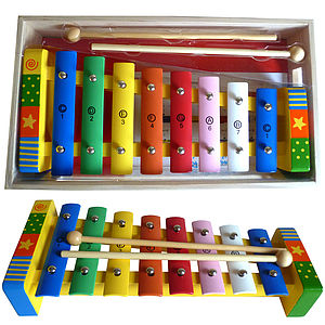 Wooden Xylophone With Song Sheet And Box - toys & games