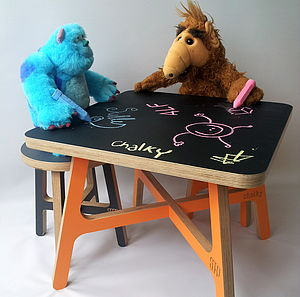 Child's Chalkboard Table And Stool