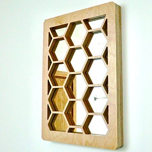 Decorative Wooden Honeycomb Mirror
