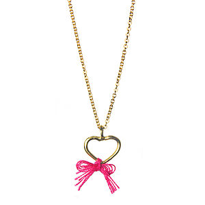 Gold Heart Bow Necklace - necklaces & pendants