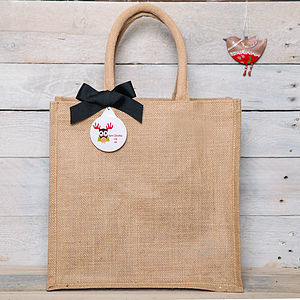 Personalised Christmas Owl Jute Shopper Bag