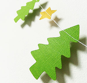 Christmas Tree And Shimmer Star Paper Garland