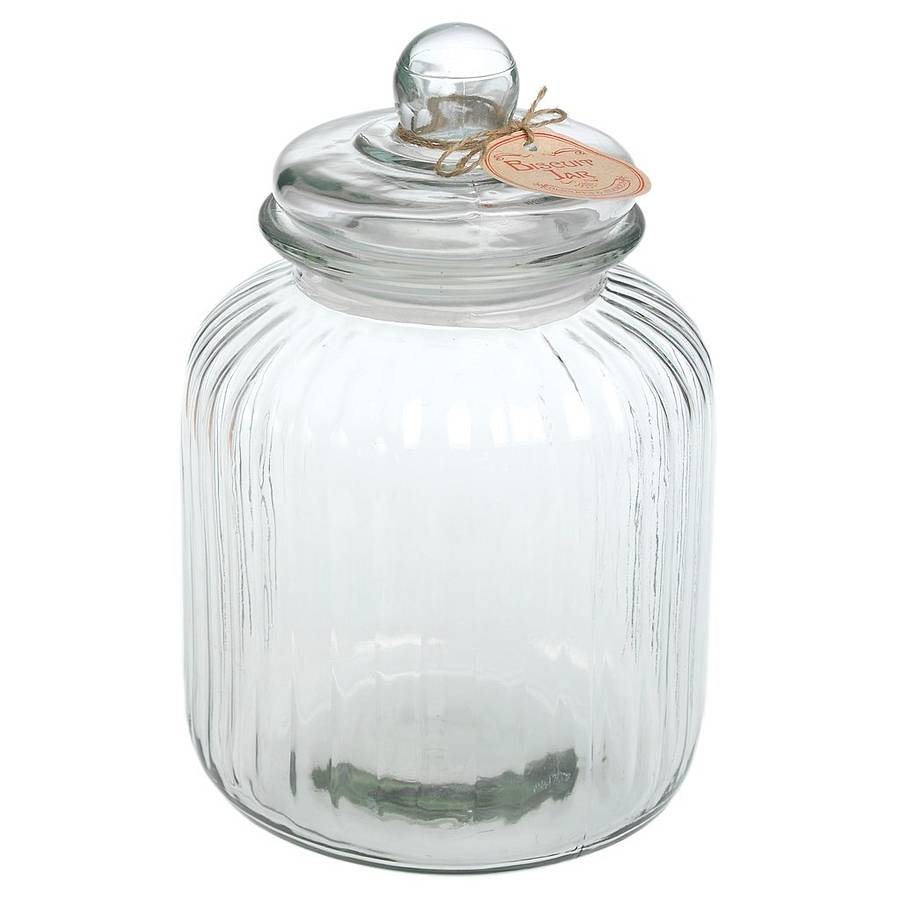 large ridged glass biscuit jar by ella james. Black Bedroom Furniture Sets. Home Design Ideas