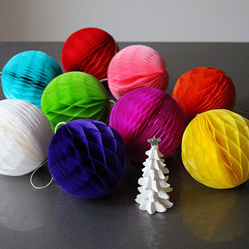 Set Of Five Mini Tissue Paper Luxe Balls