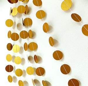 Christmas Gold Shimmer Circles Paper Garland - outdoor decorations