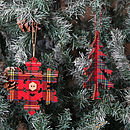 Set Of Two Tartan Christmas Tree Decorations