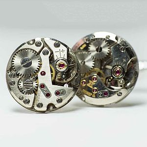 Vintage Watch Movement Round Cufflinks - cufflinks