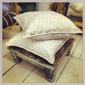 White And Gold Quilted Cushion - furniture