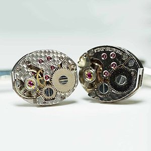 Vintage Watch Movement Oval Cufflinks - gifts for him