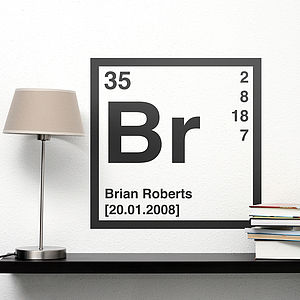 Personalised Periodic Table Wall Sticker - for young men
