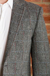 Men's Grey Herringbone Jacket - coats & jackets