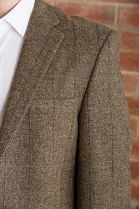 Men's Taupe Herringbone Jacket - coats & jackets