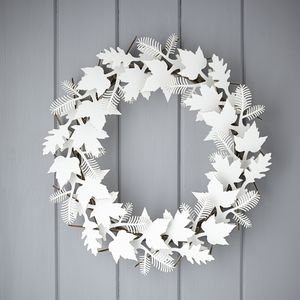 Cardboard Leaf Wreath - flowers