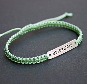 Personalised Silver Macramé Date Bracelet