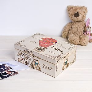 Air Baloon Personalised Keepsake Box - keepsake boxes