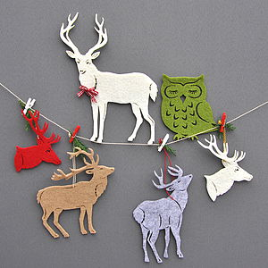 Felt Stag Decorations, Set Of Four