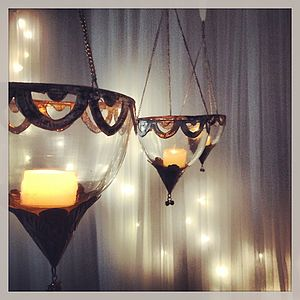 Glass Hanging Lantern Tea Light Holder - table decorations