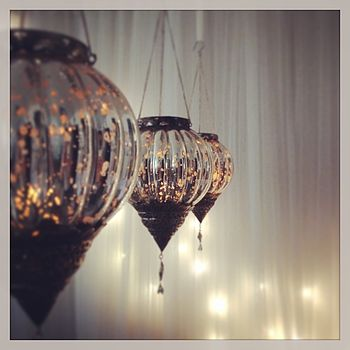 Silver Glass Hanging Tea Light Holder
