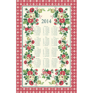 Alice Rose Linen Calendar Tea Towel