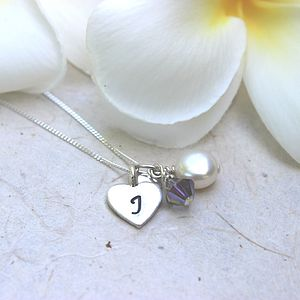 Personalised Pearl And Silver Heart Necklace - children's jewellery