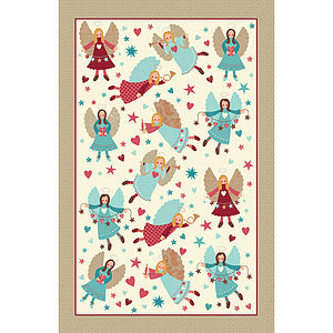 Angel Folk Linen Tea Towel