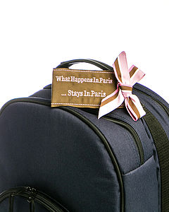 'What Happens In Paris' Luggage Tag