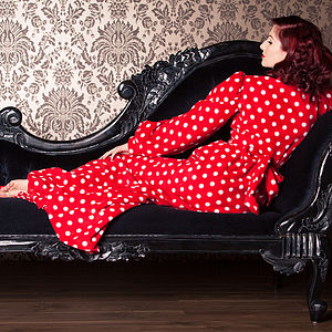 Red And White Polka Dot Fleece Bettie Robe - lingerie & nightwear