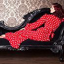 Red And White Polka Dot Fleece Bettie Robe