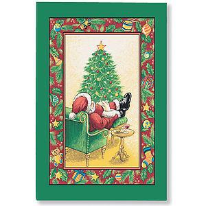 Sleeping Santa Linen Tea Towel - kitchen accessories
