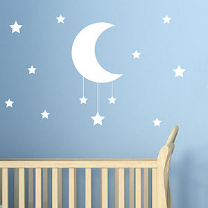 Moon And Stars Wall Sticker - decorative accessories