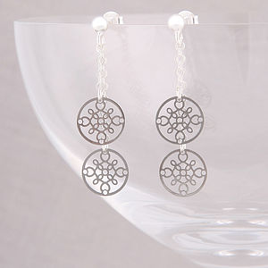 Double Strand Disc Earrings