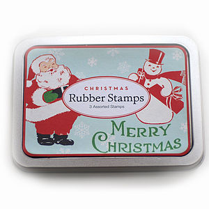 Tin Of Three Christmas Rubber Stamps - cards & wrap