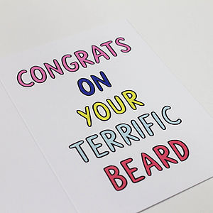 'Congrats On Your Terrific Beard' Card - shop by category