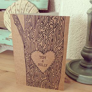 Personalised Tree Trunk Card - anniversary cards