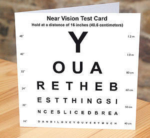 'Best Thing Since Sliced Bread' Eye Test Card - anniversary cards