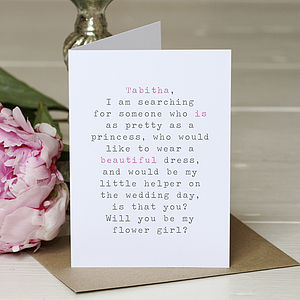 'Be My Flower Girl' Personalised Card - wedding stationery