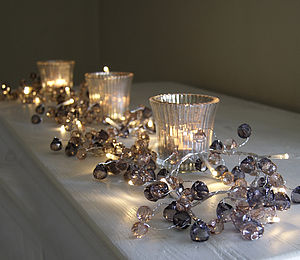 Graphite And Amber Crystal Light Garland - decoration