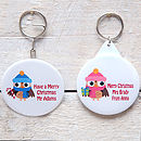 Christmas Owl Keyring, Mirror, Bottle Opener