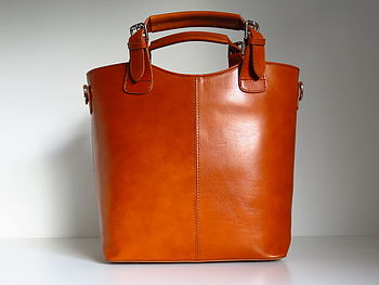 Classic Tan Leather Buckle Tote