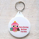 owl with pink hat key ring