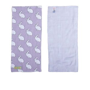 Organic Snowy The Bunny Print Burp Cloth - blankets, comforters & throws