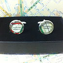 Silver Plated London Map Cufflinks
